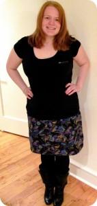Amanda D. wearing zippered skirt she sewed herself!