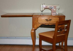 Pink 1955 Necchi supernova sewing machine