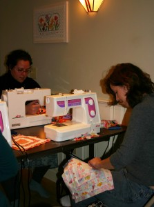 sewing quilt squares one by one